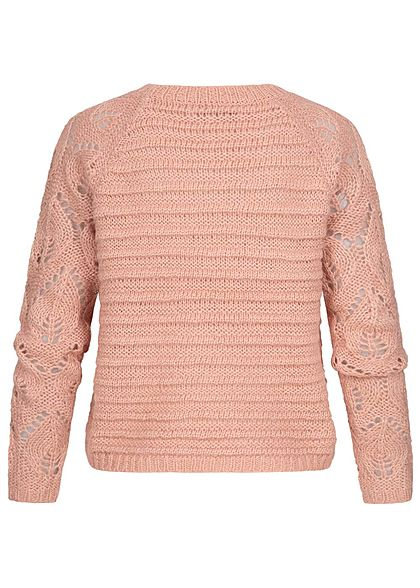 ONLY Damen Grobstrick Pullover Struktur Streifen Muster Rippbündchen misty rosa mel.