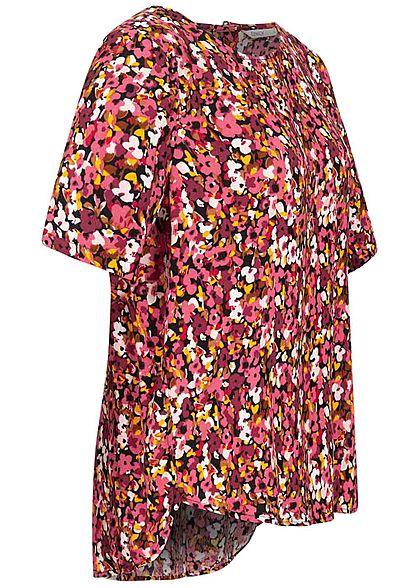 ONLY Damen Krepp Blusen Shirt Floraler Print Vokuhila schwarz rot multicolor