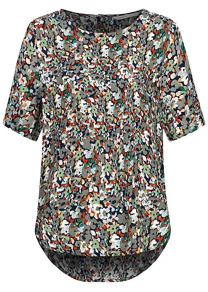 ONLY Damen Krepp Blusen Shirt Floraler Print Vokuhila night sky blau multicolor - Art.-Nr.: 20104617