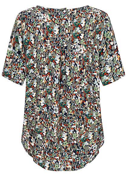 ONLY Damen Krepp Blusen Shirt Floraler Print Vokuhila night sky blau multicolor