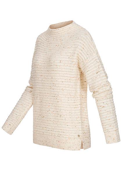 Tom Tailor Damen High-Neck Struktur Strickpullover Neps Optik soft creme beige