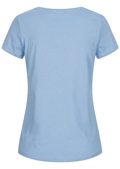 Tom Tailor Damen T-Shirt Love is the Answer Front Patch summer blau gelb