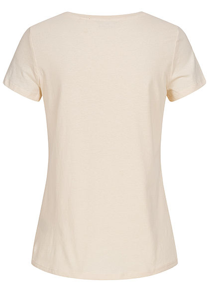 Tom Tailor Damen T-Shirt Blue Mood Front Patch soft creme beige