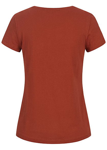 Tom Tailor Damen T-Shirt Blue Mood Front Patch rust orange