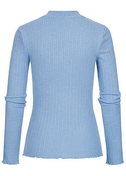 Tom Tailor Damen Ribbed Frill Longsleeve Pullover summer blau