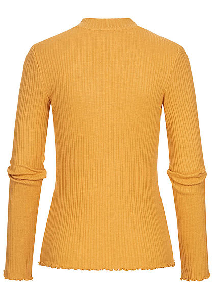 Tom Tailor Damen Ribbed Frill Longsleeve Pullover indian spice gelb