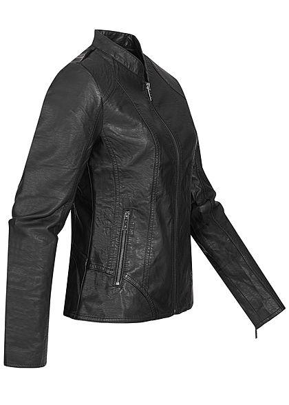 Hailys Damen Kunstleder Jacke mit Stehkragen 2-Pockets schwarz