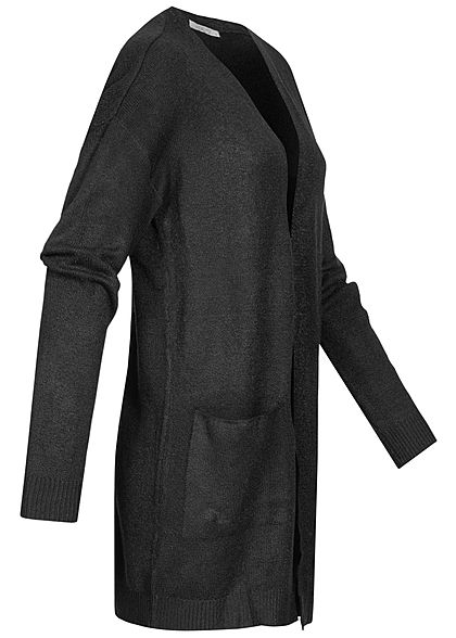 Hailys Damen Soft-Touch Solid Cardigan offener Schnitt 2-Pockets schwarz