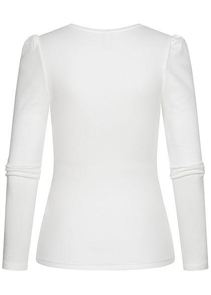 Hailys Damen Ribbed Longsleeve Pullover mit Pufferärmeln off weiss