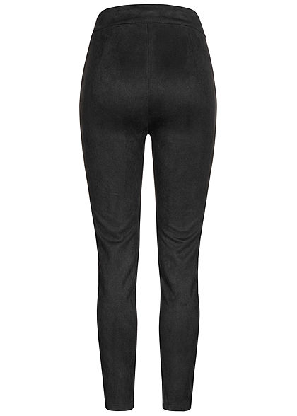 Hailys Damen Kunstleder Leggings in Velour Optik breiter Bund schwarz
