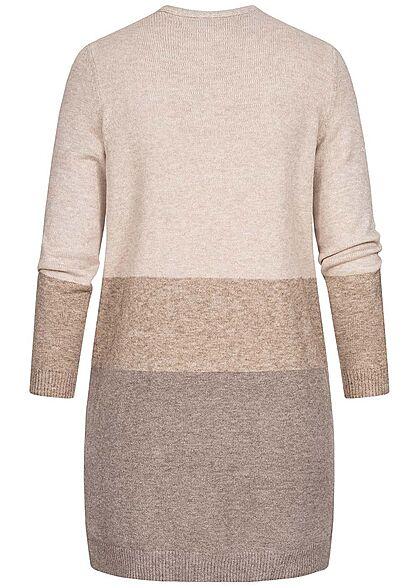 ONLY Damen NOOS Midi Colorblock Cardigan 2-Pockets sand beige woodsmoke rosa