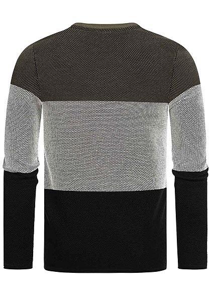 Hailys Herren 3-Tone Sweater Rollkanten Streifen Muster khaki grün weiss schwarz