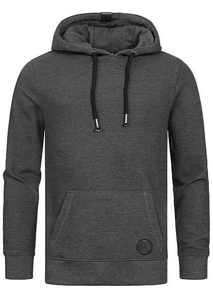Eight2Nine Herren Sweat Hoodie Kapuze Kängurutasche Jacquard Design anthrazit dunkel grau - Art.-Nr.: 20104666