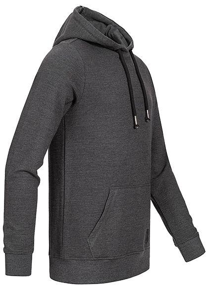Eight2Nine Herren Sweat Hoodie Kapuze Kängurutasche Jacquard Design anthrazit dunkel grau