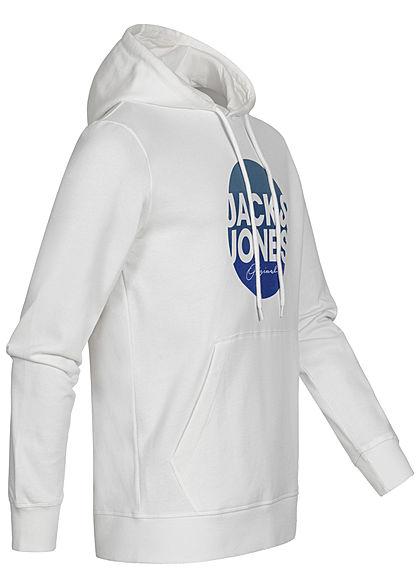Jack and Jones Herren Sweat Hoodie Kapuze Kängurutasche Logo Print cloud dancer weiss