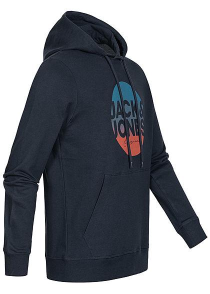 Jack and Jones Herren Sweat Hoodie Kapuze Kängurutasche Logo Print blazer navy blau