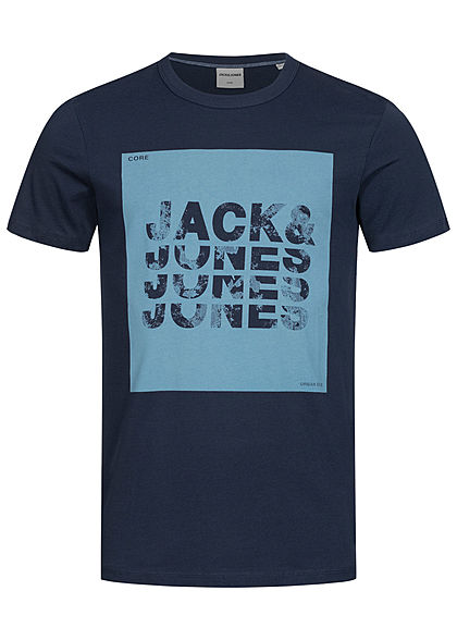 Jack and Jones Herren T-Shirt Core Logo Print Slim Fit blazer navy blau