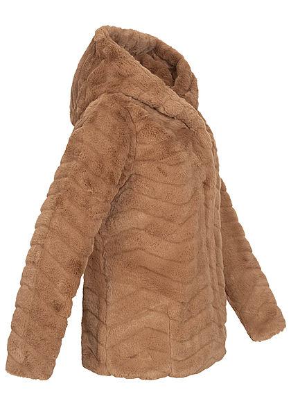 Hailys Damen Kunstfell Jacke mit Steppoptik und Kapuze camel braun