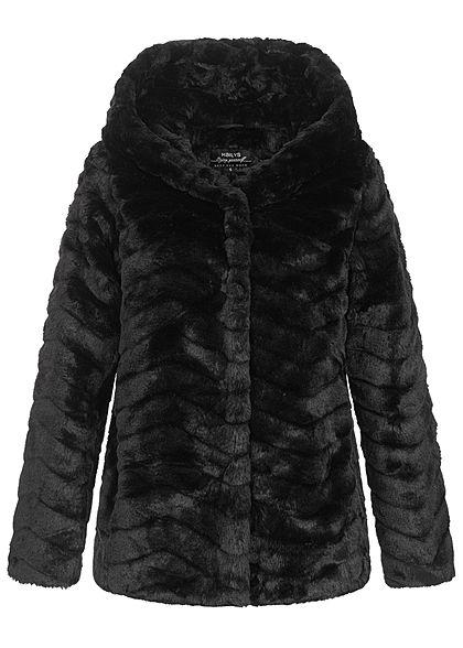 Hailys Damen Kunstfell Jacke mit Steppoptik und Kapuze schwarz