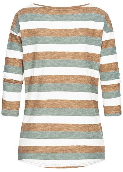 Hailys Damen 3/4 Arm Vokuhila Shirt Streifen Muster jade grün braun weiss