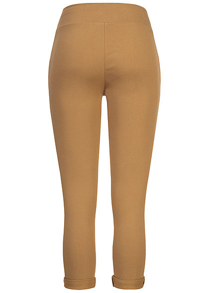 Hailys Damen Skinny Leggings breiter Gummibund camel braun