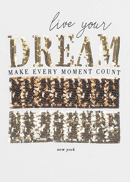 Hailys Damen T-Shirt Dream Paillettenfront weiss