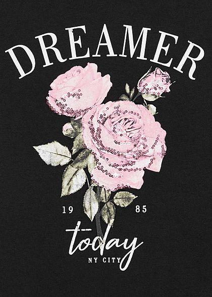 Hailys Damen T-Shirt Dreamer Rosen Print Pailletten schwarz