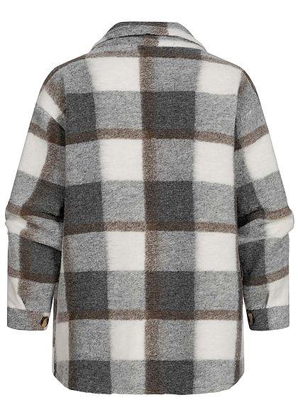 Hailys Damen Oversized Woll Jacke Karo Muster Knopfleiste 2 Brusttaschen braun grau