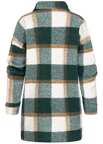 Hailys Damen Oversize Longform Woll Jacke Karo Muster 2 Brusttaschen djade grün
