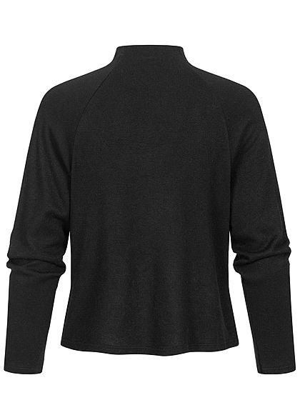 Hailys Damen High-Neck Pullover Longsleeve schwarz