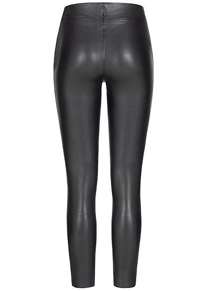Hailys Damen High-Waist Kunstleder Hose Zipper seitl. Nahtdetails schwarz