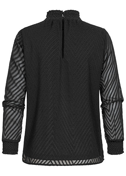 ONLY Damen NOOS Blusen Shirt Strukturstoff Arrow Muster 2-lagig schwarz