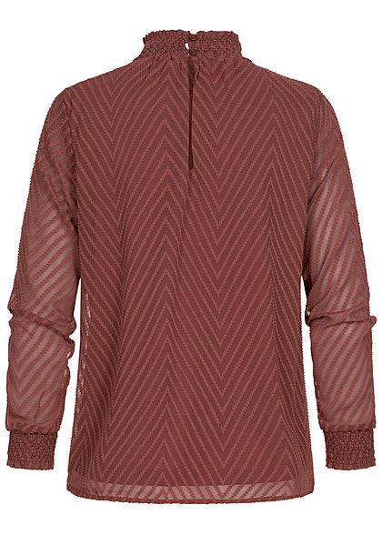ONLY Damen NOOS Blusen Shirt Strukturstoff Arrow Muster 2-lagig sable bordeaux rot