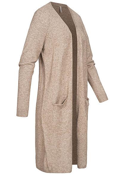 ONLY Damen Longform Cardigan offener Schnitt 2-Pockets beige melange