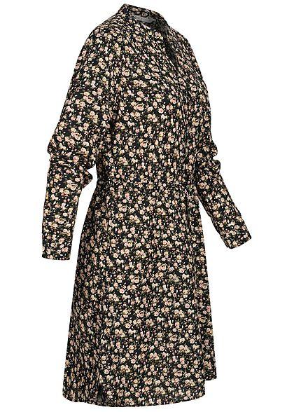 ONLY Damen NOOS V-Neck Krepp Tunika Kleid Taillenzug Blumen Muster schwarz grün