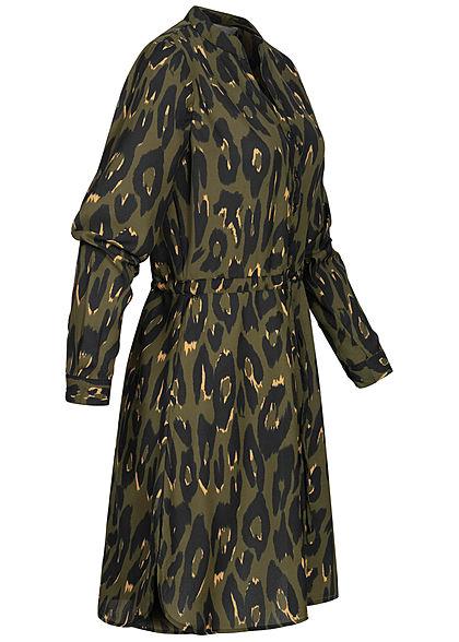 ONLY Damen NOOS V-Neck Krepp Tunika Kleid Taillenzug Leo Print schwarz oliv grün