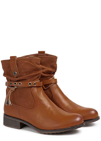Seventyseven Lifestyle Damen Schuh Materialmix Worker Boots Deko Riemen Zipper camel braun