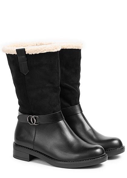 Seventyseven Lifestyle Damen Schuh Materialmix Halbstiefel Deko Riemen Zipper schwarz