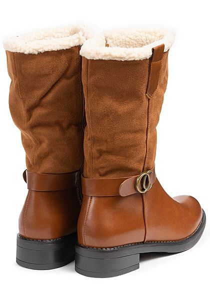 Seventyseven Lifestyle Damen Schuh Materialmix Halbstiefel Deko Riemen Zipper camel braun