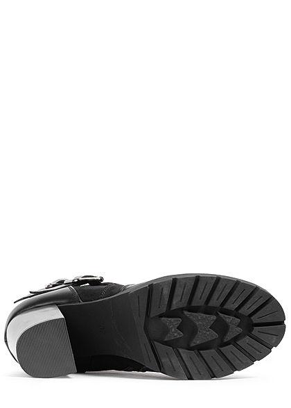 Seventyseven Lifestyle Damen Schuh Worker Boots Stiefelette Absatz 9,5cm schwarz