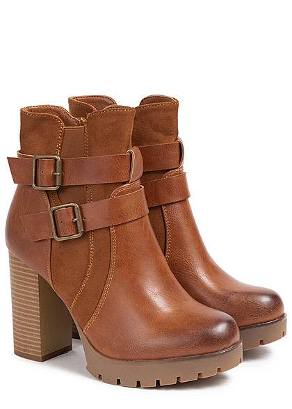 Seventyseven Lifestyle Damen Schuh Worker Boots Stiefelette Absatz 9,5cm camel braun