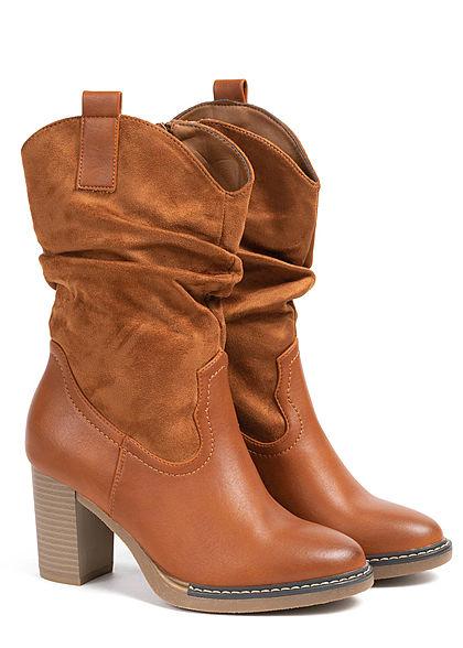 Seventyseven Lifestyle Damen Schuh Materialmix Halbstiefel Absatz 8cm camel braun