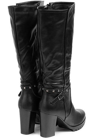 Seventyseven Lifestyle Damen Schuh Kunstleder Stiefel Absatz 9cm schwarz