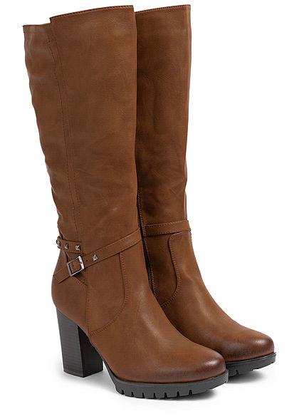 Seventyseven Lifestyle Damen Schuh Kunstleder Stiefel Absatz 9cm camel braun