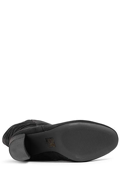 Seventyseven Lifestyle Damen Schuh Kunstleder Stiefel Absatz 9cm Zipper schwarz