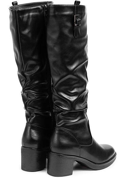 Seventyseven Lifestyle Damen Schuh Kunstleder Stiefel Deko Schnalle Absatz 6cm schwarz