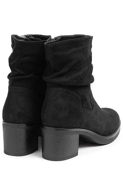 Seventyseven Lifestyle Damen Schuh Kunstleder Halbstiefel Absatz 6cm schwarz