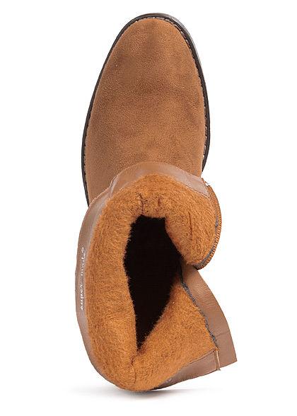 Seventyseven Lifestyle Damen Schuh Kunstleder Halbstiefel Absatz 6cm camel braun