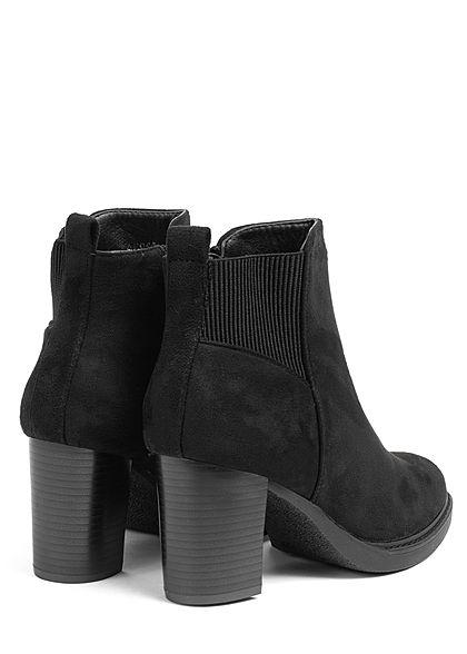 Seventyseven Lifestyle Damen Schuh Kunstleder Stiefelette Absatz 8cm Zipper schwarz