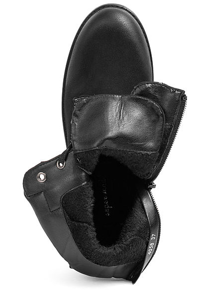 Seventyseven Lifestyle Damen Schuh Kunstleder Worker Boots Deko Zipper schwarz grau